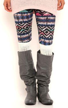 Deb Shops Multicolor Tribal Print Leggings $8.00