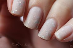 Jelly Sandwich two color colour nail art: light sheer pink nude, silver holographic glitter sparkles and small hexagons, Finished with a matte top coat