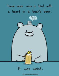 beards, beer, funny pictures, funni, bears, art, sebastien millon, birds, messages