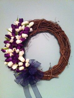 Spring Grapevine Wreath Tulip Wreath Grapevine and by IndigoGem, $75.00