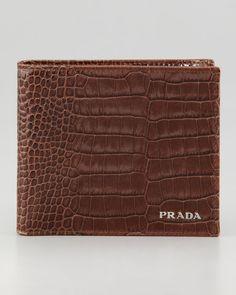 Prada Crocodileembossed embossed Bifold Wallet