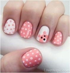 Teddy bear nails girly cute nails girl nail polish nail pretty girls pretty nails nail art nail ideas nail designs teddy bear nails