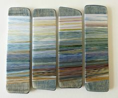 Drifting into Autumn, Helena Emmans hand dyed threads on wood