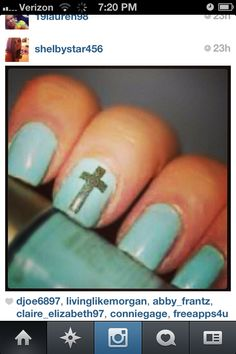 cute cross nail design. Show faith through small acts, even with nail designs.
