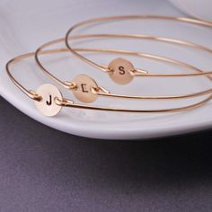 Personalized Bridesmaid Jewelry Gift Custom 14k Gold Filled Initial Bangle Braclets FOUR