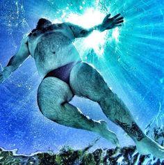 Art Made Flesh (and Fur) : Hairy Speedo Bear Underwater Shot