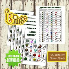 Minecraft Bingo Game - Print your own - Digital File - Instant download on Etsy, $5.75