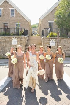 Long Taupe Bridesmaid Dresses | photography by http://rebekahwestover.blogspot.com/