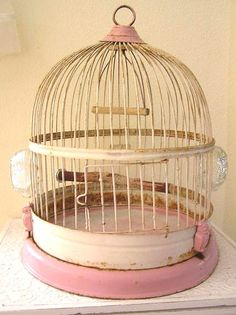 love this old shabby pink birdcage