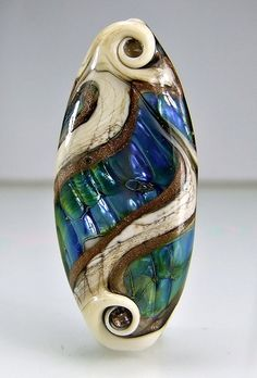 Glass Lampwork Focal Bead  Antique Ivory Blue by skyvalleybeads, $24.75
