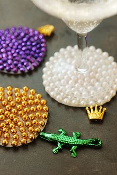 Mardi Gras Bead Coasters- Upcycled Craft Project by Rust & Sunshine