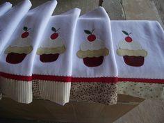 kitchen towels, cup cake, towel set, dish towels