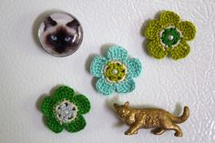 Crochet Flower Magnets Green and Blue by CatWomanCrafts on Etsy, $13.00