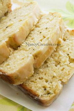 Lemon-Zucchini Loaf with Lemon Glaze. Can make modifications to flour oil and sugar to make it clean