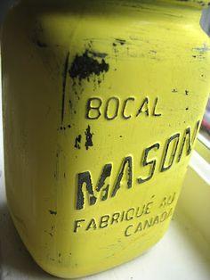 Painted, distressed Mason jar