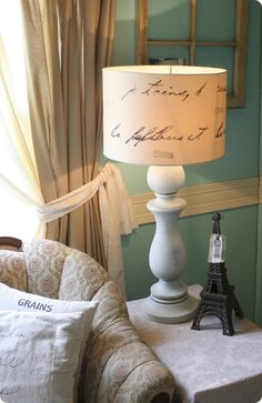 Lamp Makeover a la Pottery Barn vintage lamps, pottery barn inspired, shabby chic, french script, lampshad, cottage decorating, shade, craft ideas, decorating crafts