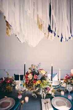 tissue paper fringe - photo by http://www.jbmweddings.com/ - http://ruffledblog.com/bold-geometric-wedding-inspiration/