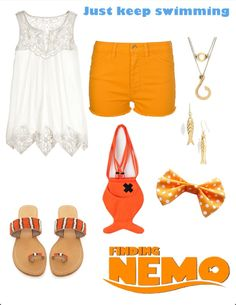 Finding Nemo Disney Inspired Outfit I want some of the clothes in this pic short, disney outfits, disney inspired outfits, nemo inspired outfits, disney character outfits, inspir outfit, finding nemo outfits, disney finding nemo outfit