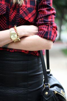 red plaid + quilted skirt