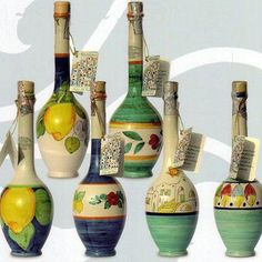 beauti bottl, lemon fresh, luscious lemon, bottl art, painted bottles, botella decoradasbottl, ceramics, limoncello bottl