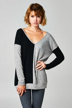 Black and Grey Colorblock Sweater