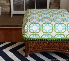 Make this adorable ottoman cushion cover! @Diane Henkler {InMyOwnStyle.com} used @Elena S fabric to recover her old ottoman to make it look brand new! #waverize