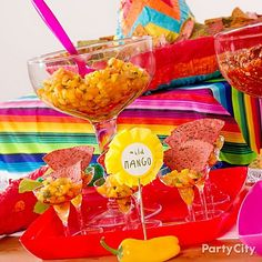 Mmmm ... mango salsa in mini margarita glasses! Click for recipe!