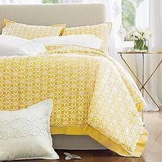 yellow bedding.