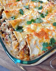 {Spinach & Goat Cheese Chicken Enchiladas}