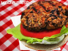 Black bean burger. Doesn't have a bunch of crazy ingredients that I need to go purchase. Looks healthy and delicious. Deff. try. 75 calories each.