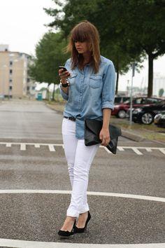 denim chambray shirt + white jeans