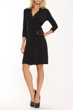 lily inc Classic Collared Wrap Dress In Black Solid -