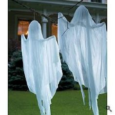 done in a dark corner of the yard or porch, these can be very spooky! Drape very lightweight fabric over a wire hangar, using stuffing to hold a head shape if necessary. Tip: Bend the arms upward. (The hangar arms become the ghosts shoulders). Now hang the ghost in an area where it will catch the breeze. The ghost will sway back and forth in a very spooky way!