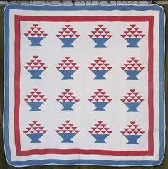 Antique c1880s Red White Blue Patriotic Basket Quilt Beautiful Quilting | eBay