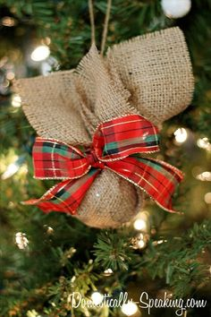 burlap christmas ornaments | Burlap & Plaid Christmas Ornament | Christmas Ideas