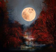 "Saatchi Online Artist: Justyna Kopania; Oil, 2010, Painting ""Twilight - Full Moon"""