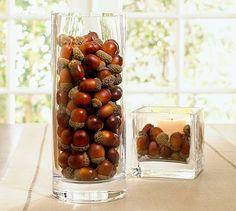 acorns + candle + vase