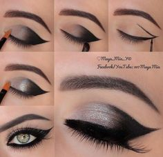 winged shadow - smoky eye - silver shadow - Makeup for Green Eyes! click to shop