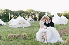 festival wedding in a field
