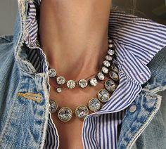 I LOVE that necklace! rhineston, statement necklaces, style, diamonds, j crew, jean jackets, denim, diamond necklaces, stripe