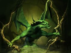 swamp dragon, green dragon, birth year, artworks, funny pictures, dragons, fantasi artwork, wallpapers, magical creatures