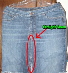 How to turn a pair of jeans into a skirt with no crooked crotch seam.