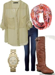 Casual boot & scarf