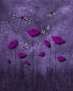 Tulips and Dragonflies, Purple Pink Art Print by Soniei's Contemporary Art in Contemporary-Tulips-Art-Prints on Soniei's Contemporary Art