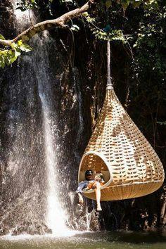 Hanging bed tree swings, waterfalls, bird nest, heaven, dream, hammock, place, spot, thing