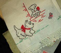 Vintage Scottie Dog Linen