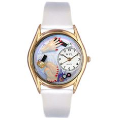Nail Tech Red Leather And Goldtone Watch - http://www.artistic-watches.com/2012/11/04/nail-tech-red-leather-and-goldtone-watch/