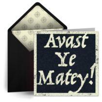 A digital birthday card for a little pirate. Avast Ye Matey!