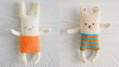 Bear and Rabbit Toys - Free Knitting Pattern here: https://au.lifestyle.yahoo.com/better-homes-gardens/craft/how-to/h/-/17975826/how-to-knit-toy-animals/