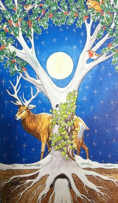 Numerous traditions connnect the three Solstice plants: Mistletoe, Holly, and Ivy    The Holly and the Ivy have a curious rivalry throghout the year and especially at the solstice. Holly was seen as a male plant with ut bright red berries and sharp, prickly leaves, clinging and genter, was perceieved to be female. The association comes from the myth of a fair young maiden who was dancing in front of the god, Dionysus, in all her ardor and passion, only to die at his feet. The god, moved by he...